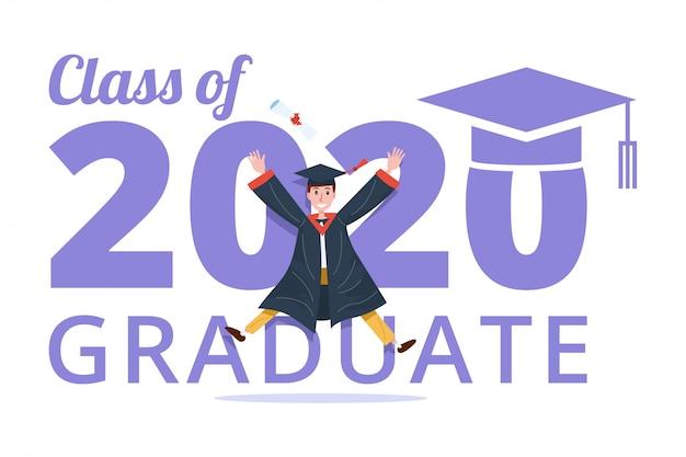 Afstuderen klasse van 2020 banner met afgestudeerde man springen.