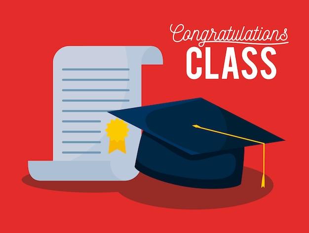 Afstuderen klasse viering kaart met hoed en diploma
