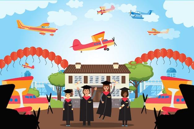 Afstuderen mensen pilot academy, toekomstige werknemers luchtvaartmaatschappij, illustratie. vliegtuigpictogram op mantel, vliegtuigen en ballonnen