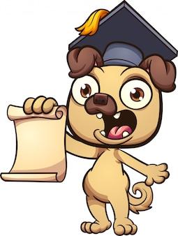 Afstuderen pug cartoon illustratie