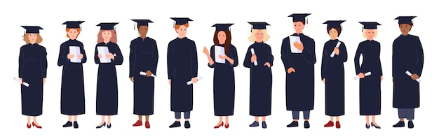 Afstuderen studenten cartoon. groep man, vrouw, multiraciale mensen in academische cap, jurk, diploma in de hand