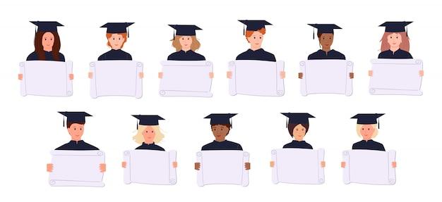 Afstuderen studenten demonstranten activisten cartoon. mensen in academische cap, jurk. verschillende landen