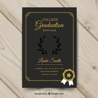 Afstuderen uitnodigingssjabloon met platte ontwerp