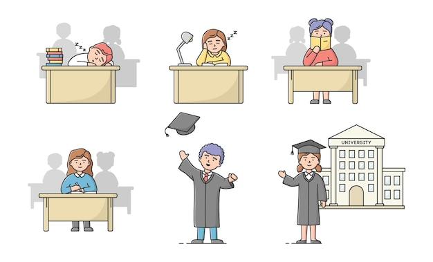 Afstuderen van de middelbare school, universitaire cursussen concept. aantal studenten tieners in verschillende situaties. jongens en meisjes studeren, afgestudeerd aan de universiteit.
