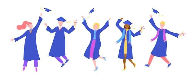 Afstuderen van de universiteit, geïsoleerd op witte mensen, vectorillustratie. gelukkig man vrouw student karakter tijdens college ceremonie. persoonsgroep