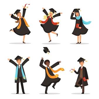 Afstuderen van gelukkige studenten in verschillende landen. vectorillustratie van universitaire levensstijl. stoeterij