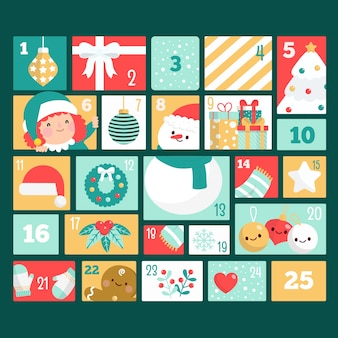 Aftelkalender voor kerstdag in plat ontwerp