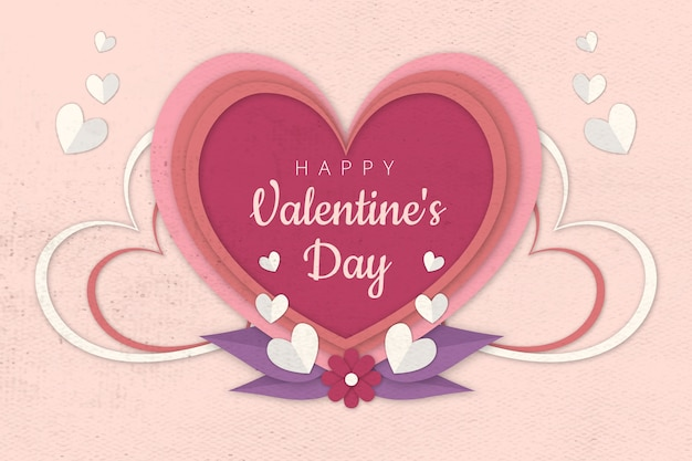 Aftelkalender voor valentijnsdag achtergrond in papier stijl