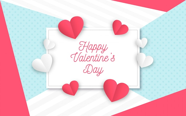 Aftelkalender voor valentijnsdag achtergrond in papierstijl