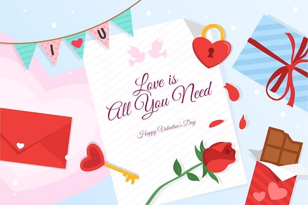 Aftelkalender voor valentijnsdag achtergrond in plat ontwerp