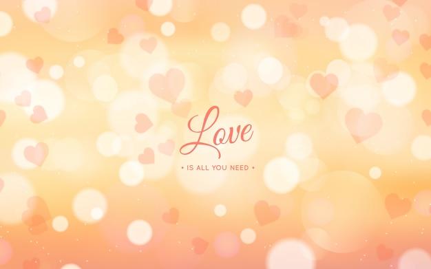 Aftelkalender voor valentijnsdag achtergrond met bokeh