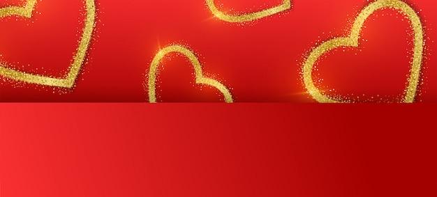 Aftelkalender voor valentijnsdag banner achtergrond met glitter gouden hart.