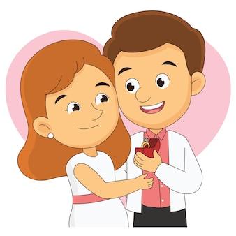 Aftelkalender voor valentijnsdag en gelukkige jonge vrouw en man met gigantische ring