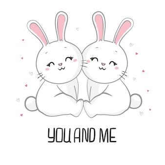 Aftelkalender voor valentijnsdag hand getekende illustratie van schattig konijn paar