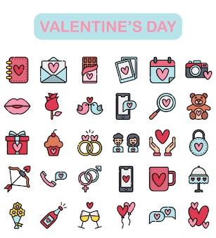 Aftelkalender voor valentijnsdag iconen set, lineaire kleur stijl premium