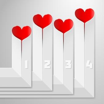 Aftelkalender voor valentijnsdag infographics met harten