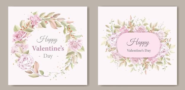 Aftelkalender voor valentijnsdag krans bloemen wenskaart