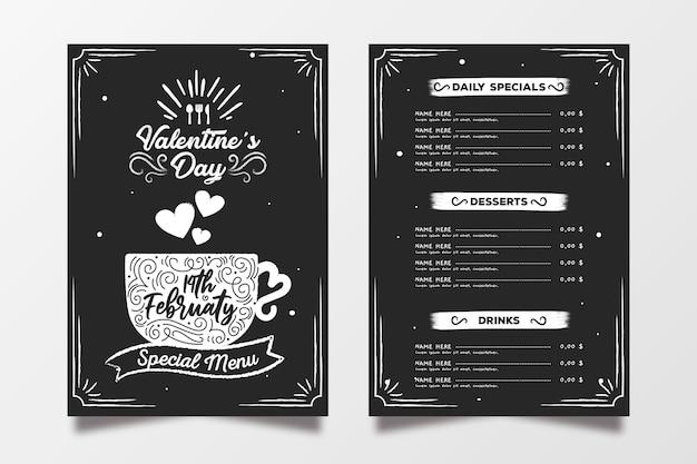 Aftelkalender voor valentijnsdag menu sjabloon hand getrokken