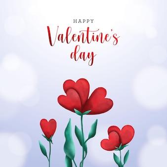 Aftelkalender voor valentijnsdag met aquarel bloemenharten
