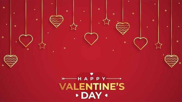 Aftelkalender voor valentijnsdag met gouden hart en confetti