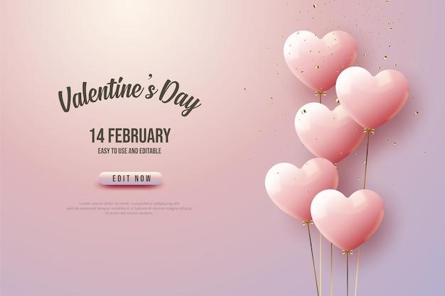 Aftelkalender voor valentijnsdag met hart ballonnen.