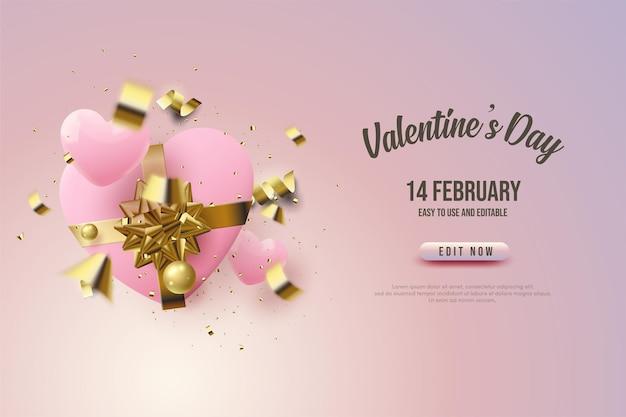 Aftelkalender voor valentijnsdag met hart geschenkdoos
