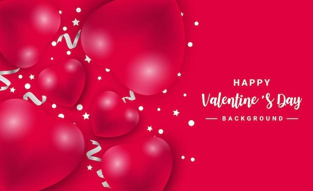 Aftelkalender voor valentijnsdag met harten pictogram patroon. valentijn hartjes op rood drijvend met gelukkige valentijnsdag groeten.