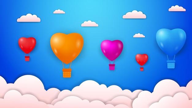 Aftelkalender voor valentijnsdag met kleurrijke liefde gevormde hete lucht ballonnen