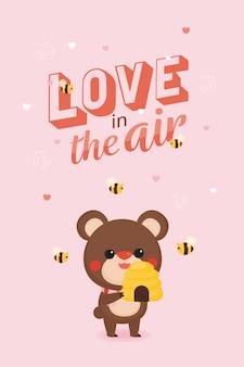 Aftelkalender voor valentijnsdag met schattige beer en zoete achtergrond.
