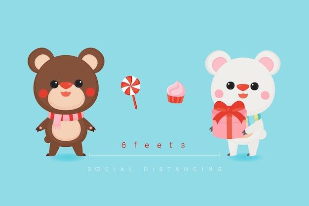 Aftelkalender voor valentijnsdag met schattige beren en zoete achtergrond.