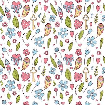 Aftelkalender voor valentijnsdag naadloze patroon met kleurrijke bloemen