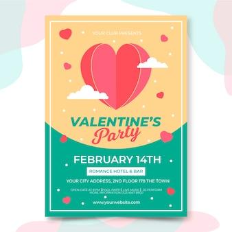 Aftelkalender voor valentijnsdag partij folder sjabloon in plat ontwerp