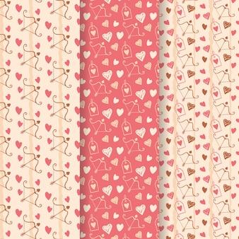 Aftelkalender voor valentijnsdag patroon collectie hand getrokken