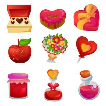 Aftelkalender voor valentijnsdag pictogramserie