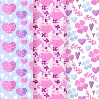 Aftelkalender voor valentijnsdag platte ontwerppatroon set