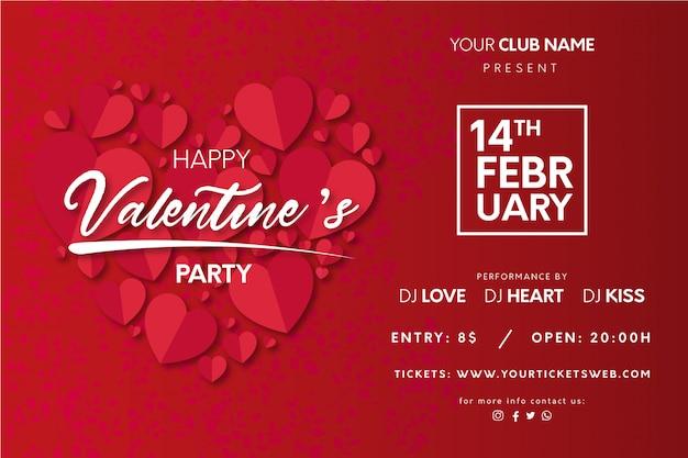 Aftelkalender voor valentijnsdag poster met harten