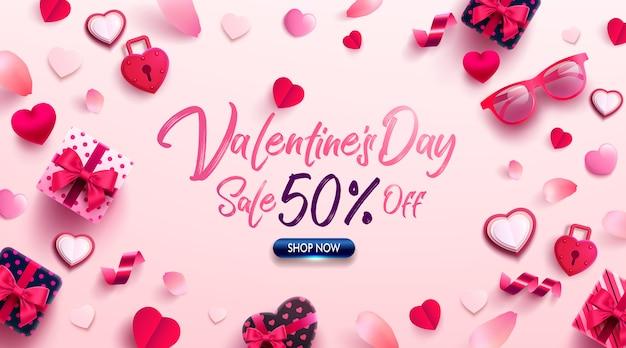 Aftelkalender voor valentijnsdag poster of spandoek met een lief cadeau, een liefje en mooie items