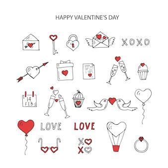 Aftelkalender voor valentijnsdag set lijntekeningen elementen