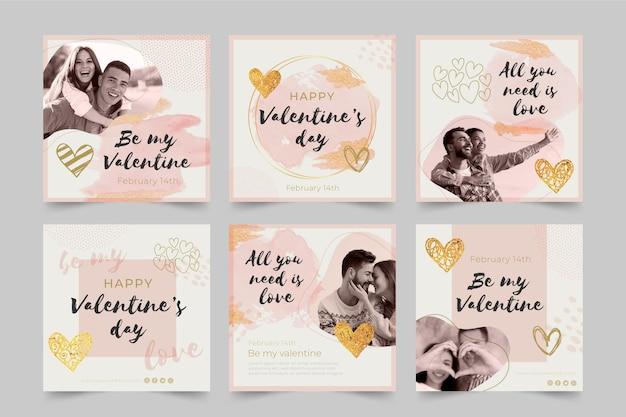 Aftelkalender voor valentijnsdag sociale media-berichten ingesteld