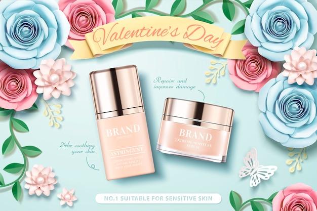 Aftelkalender voor valentijnsdag stichting met papieren bloemen tuin achtergrond