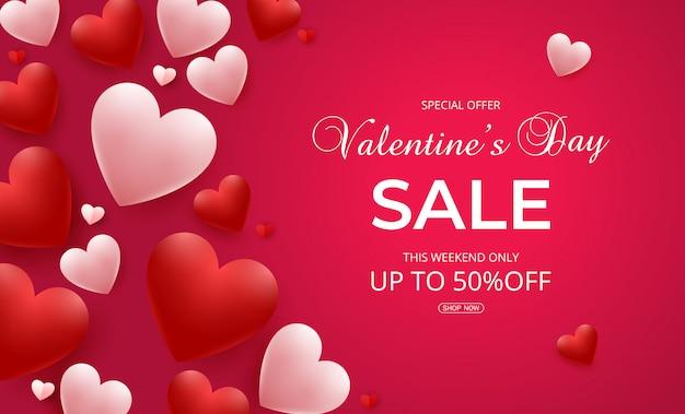 Aftelkalender voor valentijnsdag verkoop achtergrond met roze en rode harten ballonnen