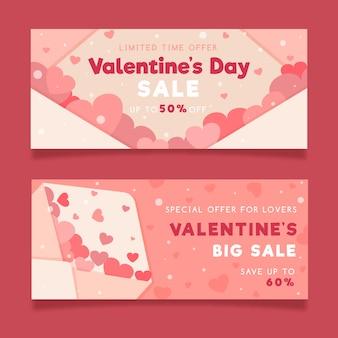 Aftelkalender voor valentijnsdag verkoop banners plat ontwerp