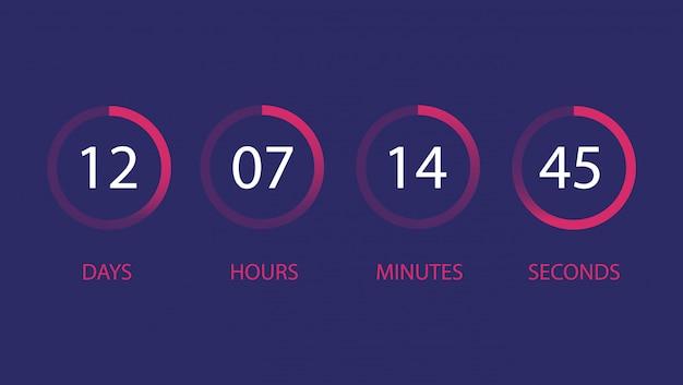 Aftelklok voor gebruikersinterface. dag, uur, minuut, seconde.