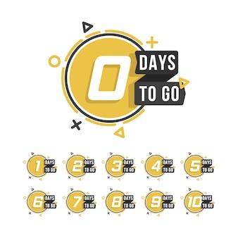 Aftellen 1 tot 10, dagen te gaan label of embleem kan worden gebruikt voor promotie, verkoop, bestemmingspagina, sjabloon, ui, web, mobiele app, poster, banner, flyer. aantal resterende dagen aftellen.