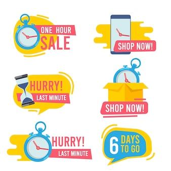 Aftellen badges. promotionele hete aanbiedingen snelle verkoop vuurembleem grote deals marketing stickers collectie.