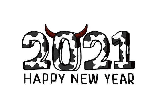 Aftellen naar het nieuwe jaar 2021, het jaar van de os 2021