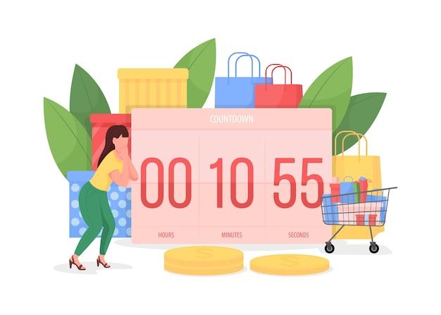 Aftellen naar zwarte vrijdag platte concept illustratie. timer met telminuten tot seizoensverkoop. vrouw shopper 2d stripfiguur voor webdesign. shopaholism creatief idee