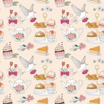 Afternoon tea naadloos patroon, voortreffelijke snacks en theecollectie