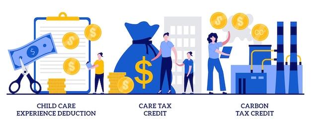 Aftrek van kinderopvangervaring, zorgbelastingkrediet, koolstofbelastingkredietconcept met kleine mensen. inkomenssubsidies ingesteld. belastingaftrek, vrijstelling en kredietmetafoor.
