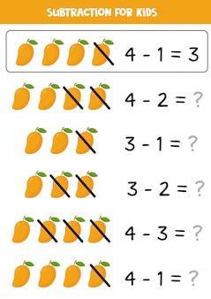 Aftrekken met cartoon mango. math-werkblad voor kinderen. objecten leren aftrekken. elementaire algebra voor kleuters.